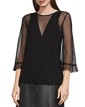 Bcbgmaxazria Ashleigh Sheer-Sleeve Top