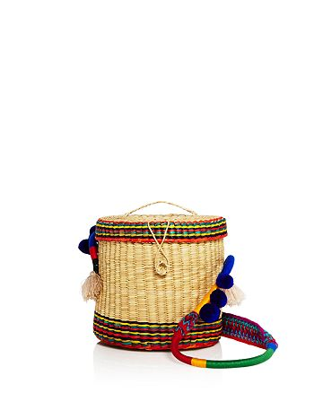 Nannacay - Ana Striped Pom-Pom Straw Bucket Bag