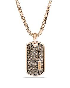 David Yurman - Pavé Tag with Cognac Diamonds in 18K Rose Gold