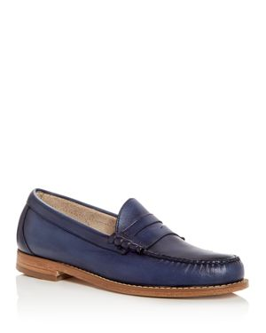 G.H. BASS & CO. Men'S Larson Leather Penny Loafers in Navy/ Navy Leather