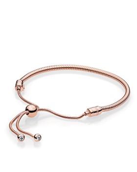 PANDORA - Rose Gold-Tone Sterling Silver Signature Sliding Bolo Bracelet