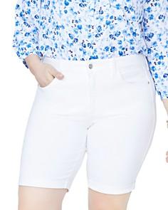 NYDJ Plus - Briella Roll-Cuff Bermuda Shorts in Optic White