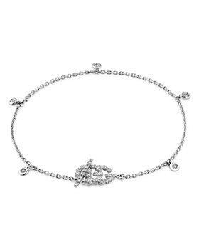 Gucci - 18K White Gold GG Running Chain Diamond Bracelet