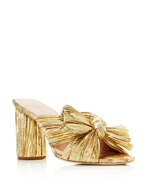 Women'S Penny Pleated Metallic High-Heel Slide Sandals, Gold
