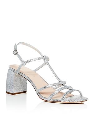 Loeffler Randall Women's Elena Leather T Strap Block Heel Sandals