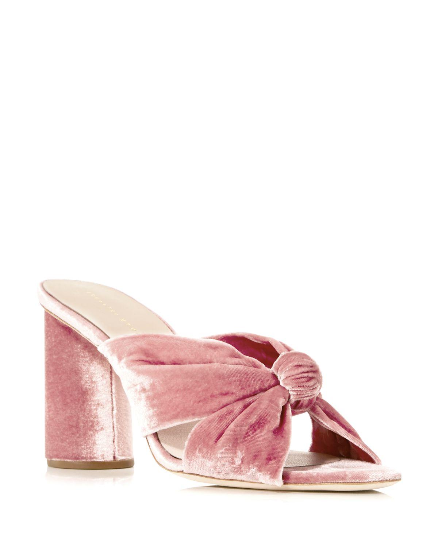 Loeffler Randall Coco Velvet High-Heel Slide Sandals