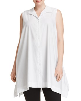 Foxcroft Plus - Button-Down Handkerchief Tunic