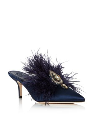 Women'S Elodie Embellished Mules, Perfect Navy