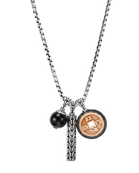 """JOHN HARDY - Bronze & Sterling Silver Classic Chain Black Onyx Charm Necklace, 26"""""""
