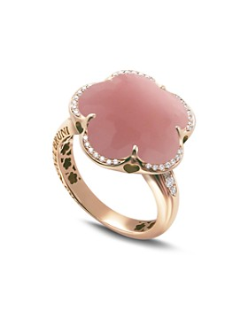 05ee803cb00e Pasquale Bruni - 18K Rose Gold Bon Ton Floral Dark Pink Chalcedony    Diamond Ring