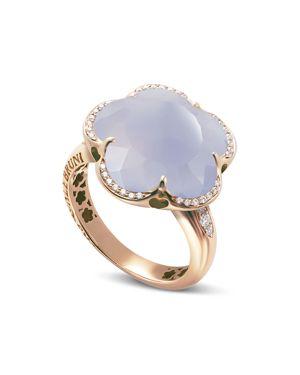 PASQUALE BRUNI 18K ROSE GOLD BON TON LIGHT BLUE CHALCEDONY & DIAMOND FLORAL RING