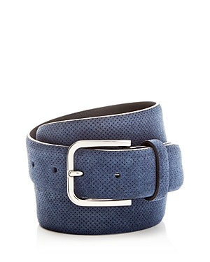 Canali Embossed Suede Belt