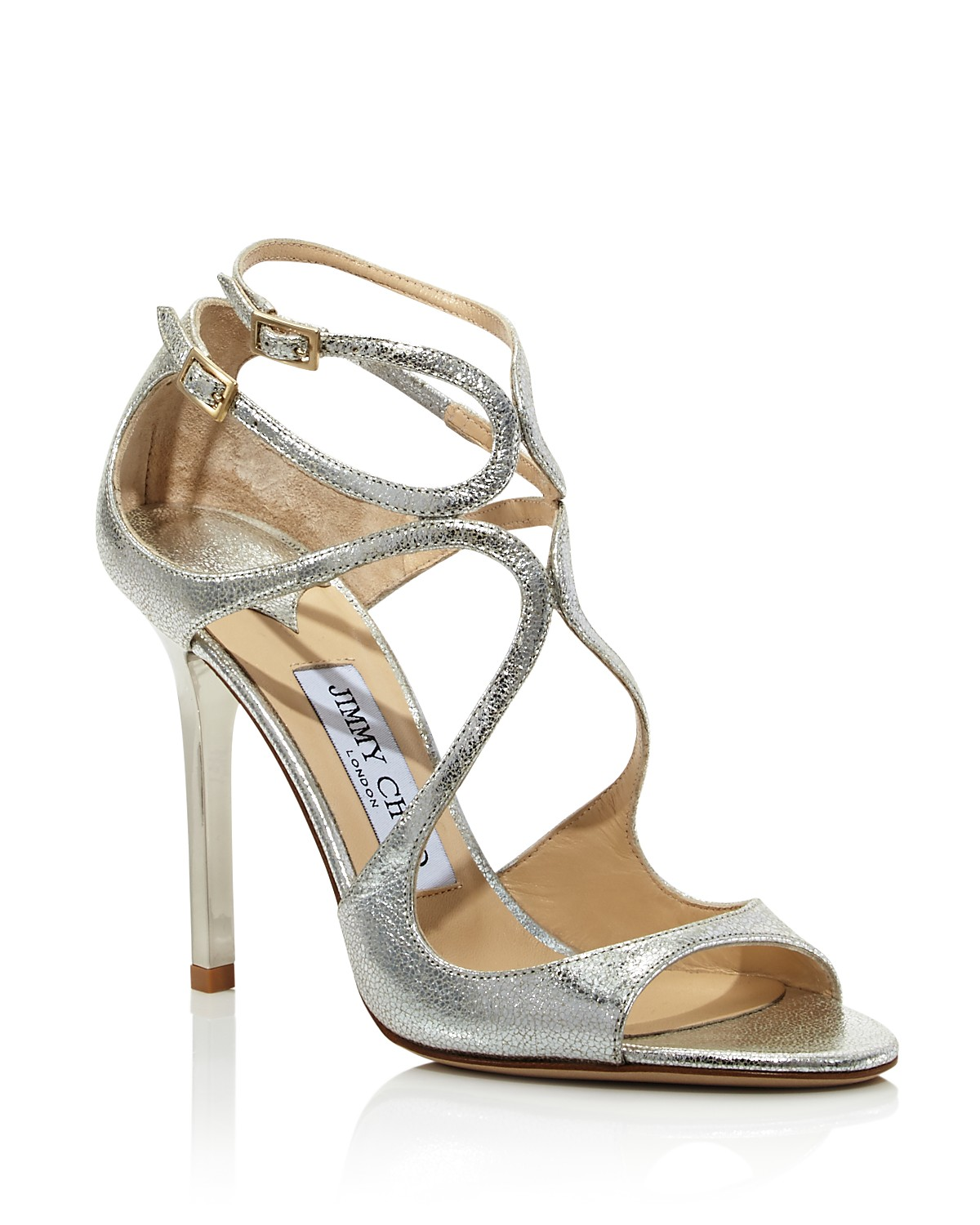 Jimmy choo Women's Lang 100 Crackled Metallic Leather High-Heel Sandals ULty8xXe