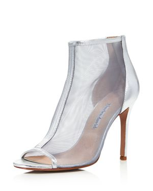 CHARLES DAVID Women'S Court Mesh & Leather Open Toe High-Heel Booties in Silver