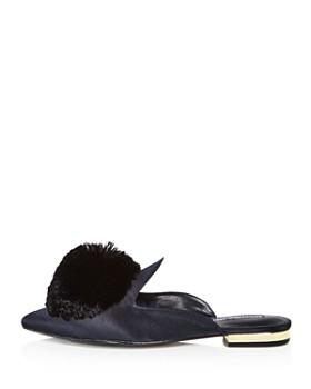 Charles David - Women's Wella Satin Pom-Pom Pointed Toe Mules