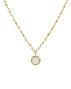 """Argento Vivo - 18K Gold-Plated Silver Small Opal Pendant Necklace, 16"""""""