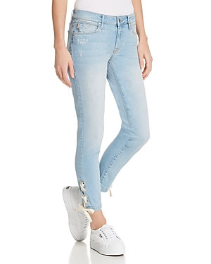 Mavi ADRIANA ANKLE LACE-UP SKINNY JEANS IN BLEACH SUMMER LACE