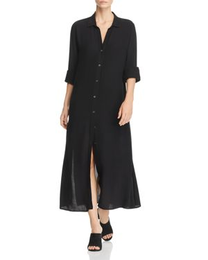 Long-Sleeve Button-Front Maxi Shirtdress, Noir