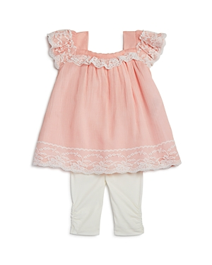 Miniclasix Girls LaceTrimmed Bow Top  Capri Leggings Set  Baby
