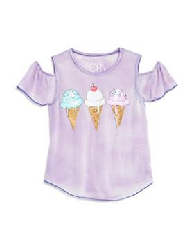 CHASER - Girls' Cold-Shoulder Ice Cream Tee - Little Kid, Big Kid
