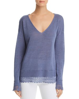 MINNIE ROSE LACE-TRIMMED LAYERED-LOOK TOP