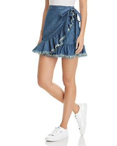 BLANKNYC Frayed-Ruffle Wrap Denim Skirt - Bloomingdale's_0