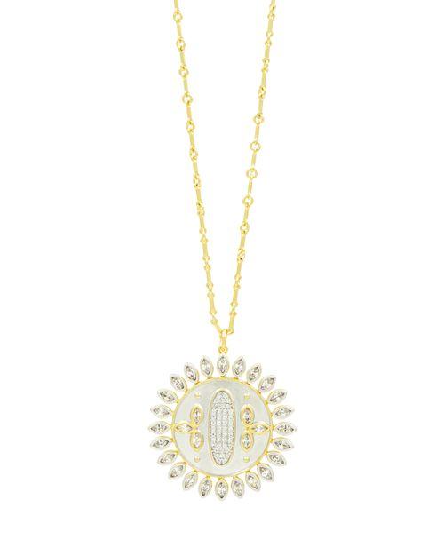 "Freida Rothman - Fleur Bloom Disc Pendant Necklace, 20"""