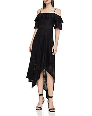 Bcbgmaxazria Demi Cold-Shoulder Lace Midi Dress