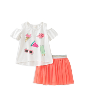 kate spade new york Girls So Cool Graphic Top  Pleated Skirt Set  Baby