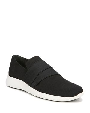 Aston Solid Knit Fabric Slip-On Sneakers in Black