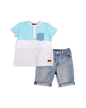 7 For All Mankind Boys Island Paradise Henley Tee  Denim Shorts Set  Baby