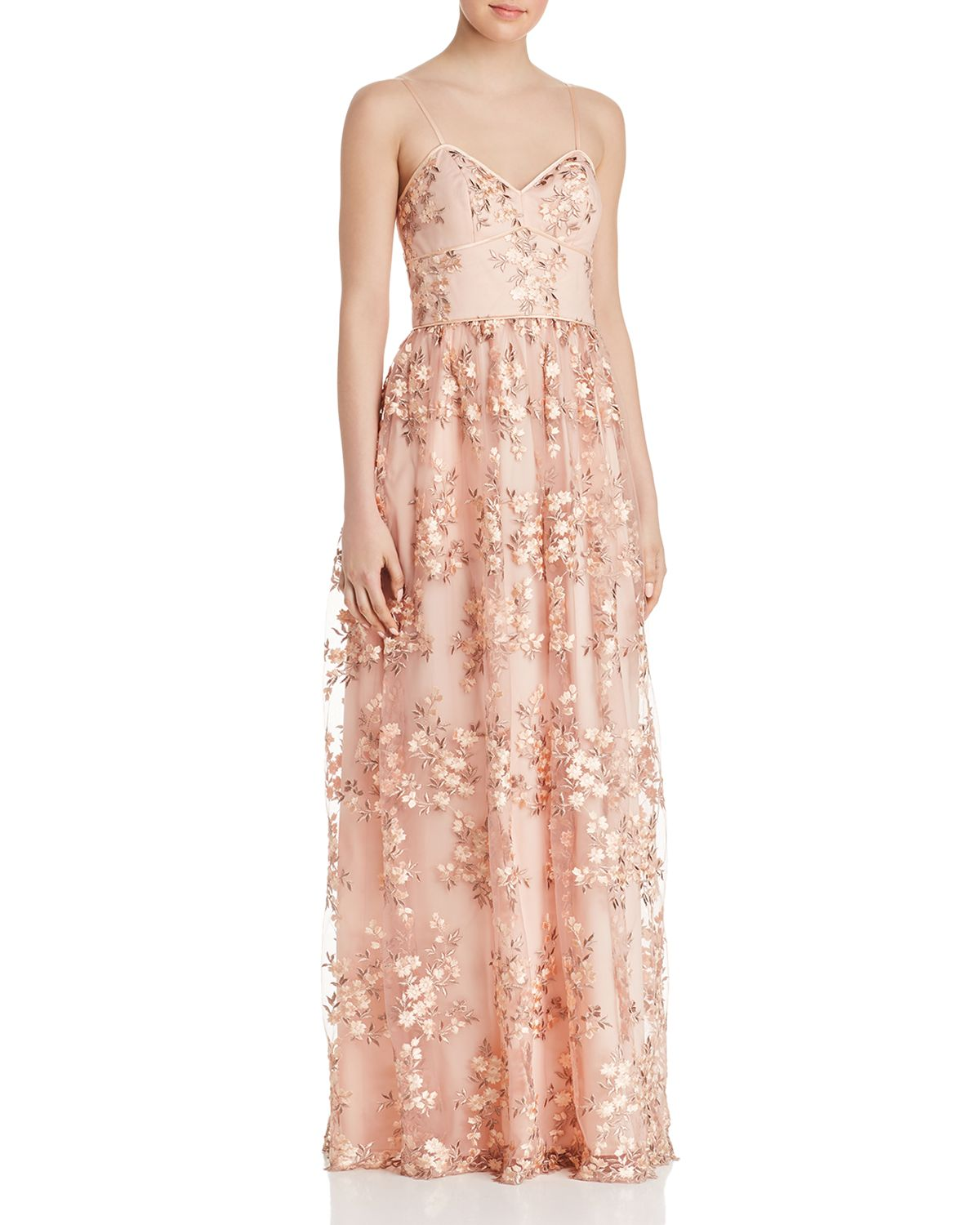 Floral Embroidered Gown by Aidan By Aidan Mattox