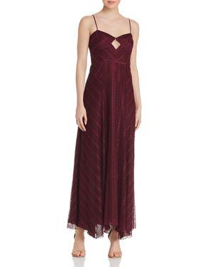 Eliza Lace Slip Gown W/ Cutout Front in Purple