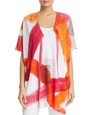 Paint-Stroke Print V-Neck Poncho Top, Shocking Pink from DKNY
