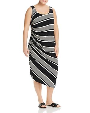 Vince Camuto Plus Ruched Stripe Midi Stripe Dress