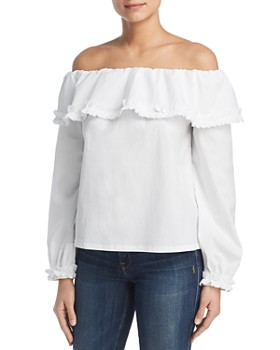 Marled - Off-the-Shoulder Ruffle-Trim Top