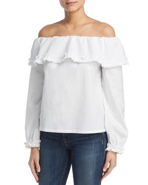 MARLED Off-The-Shoulder Ruffle-Trim Top in White