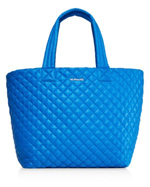 MZ WALLACE 'MEDIUM METRO' QUILTED LACQUER TOTE - BLUE