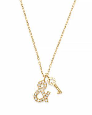 SUEL Blackened 18K Yellow Gold Key & Heart Lock Diamond Necklace, 20 in White/Gold