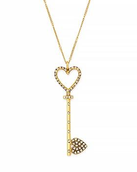"SUEL - Blackened 18K Yellow Gold Heart Key Pendant Necklace, 20"""