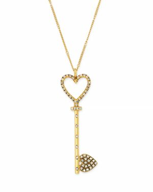 SUEL BLACKENED 18K YELLOW GOLD HEART KEY PENDANT NECKLACE, 20