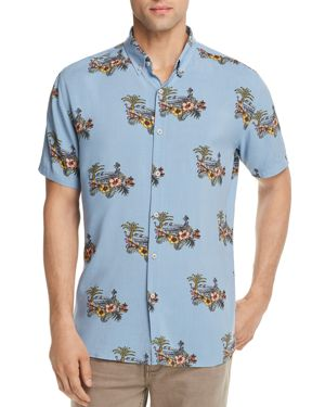 BARNEY COOLS Tropical Regular Fit Button-Down Shirt - 100% Exclusive in Aqua Mirage