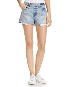 Pistola - Winston Embroidered Denim Shorts in Ivy - 100% Exclusive