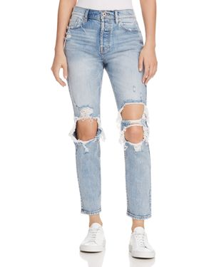 PISTOLA MOM HIGH-RISE DISTRESSED STRAIGHT-LEG JEANS IN UP IN FLAMES
