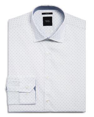 WRK Pindot Slim Fit Dress Shirt in White