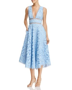 SAU LEE Abigail Lace Midi Dress in Sky Blue