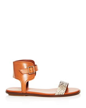 Cole Haan - Women's Barra Snake Embossed Leather Ankle Strap Sandals