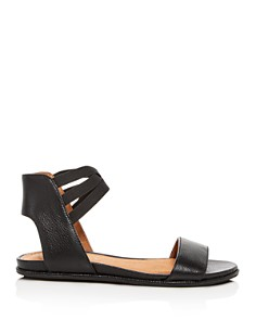 Gentle Souls by Kenneth Cole - Women's Lark-May Leather Ankle Strap Demi Wedge Sandals
