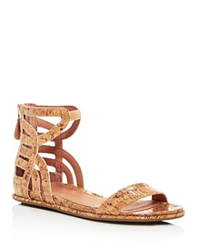 Gentle Souls by Kenneth Cole - Women's Larisa Glossy Cork Ankle Strap Demi Wedge Sandals