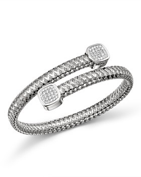 Roberto Coin - 18K White Gold Primavera Diamond Capped Bypass Bangle